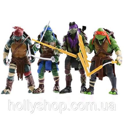 Черепашки-ниндзя: Набор фигурок из 4-х Черепашек 13 см Ninja Turtles Подвижные руки, ноги , голова, фото 2