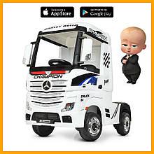 Детский электромобиль Грузовик Мерседес M 4208EBLR-1 муз свет MP3 USB белый