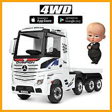 Детский электромобиль грузовик Mercedes-Benz с прицепом 2.4G 4*35W 2*12V7AH кожа EVA MP3 USB белый