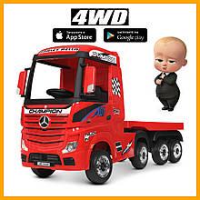 Детский электромобиль с прицепом M 4208EBLR-3(2) Грузовик тягач (фура) красный