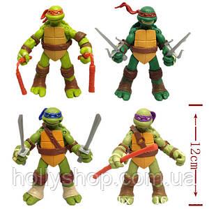 Черепашки-ніндзя: Набір фігурок з 4-х Черепашок 12 см Ninja Turtles Рухливі руки, ноги , голова