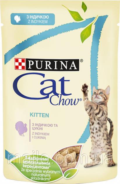 Упаковка вологого корму для кошенят Purina Cat Chow Kitten шматочки в желе з індичкою і цукіні 85 г x 24 шт