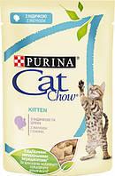 Упаковка вологого корму для кошенят Purina Cat Chow Kitten шматочки в желе з індичкою і цукіні 85 г x 24 шт, фото 1
