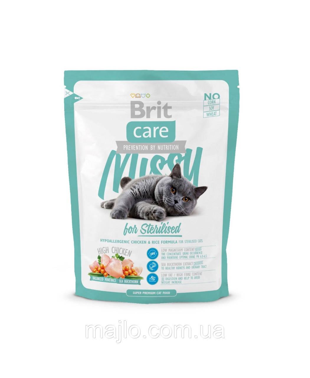Сухой корм Brit Care Cat Missy Sterilised Брит Кеа для стерилизованных котов и кошек, 400 г, 132626