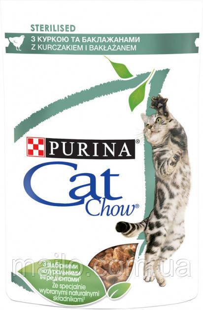 Упаковка вологого корму для кішок Purina Cat Chow з куркою і баклажанами 85 г х 24 шт