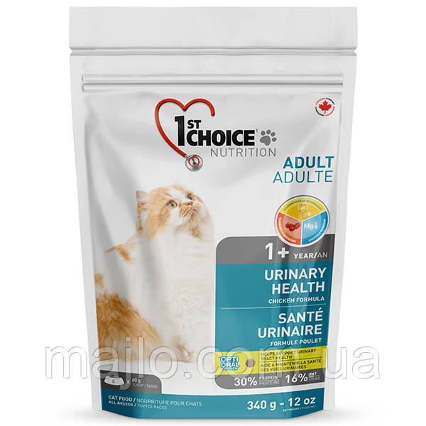 Сухий корм для дорослих котів 1st Choice Urinary Health для котів схильних до МБК 0.34 кг