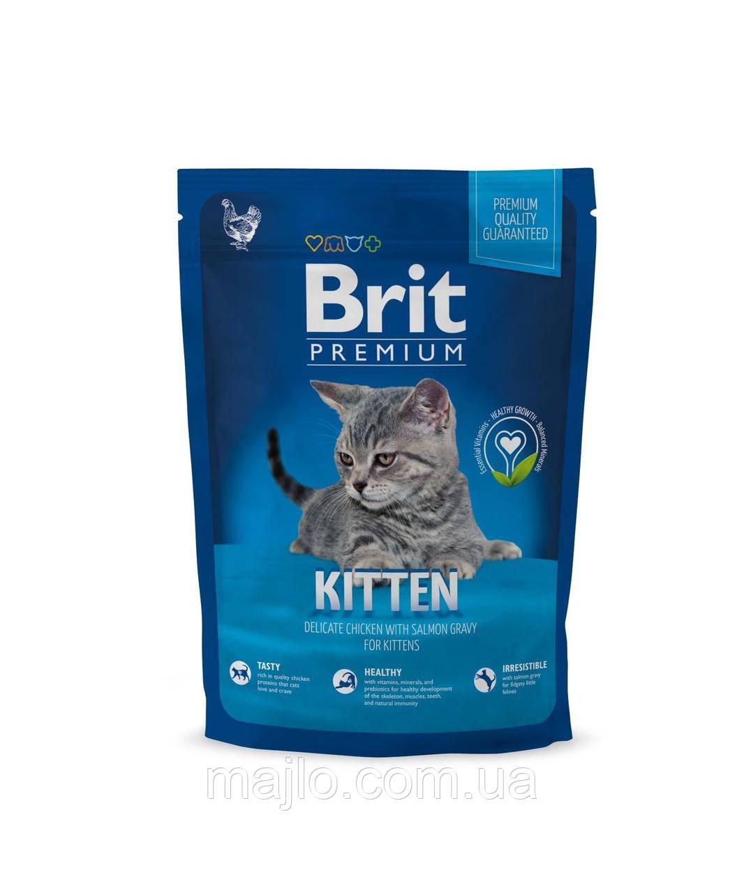 Сухой корм Brit Premium Kitten Брит Премиум для котят с курицей в лососевом соусе 1,5 кг, 170353
