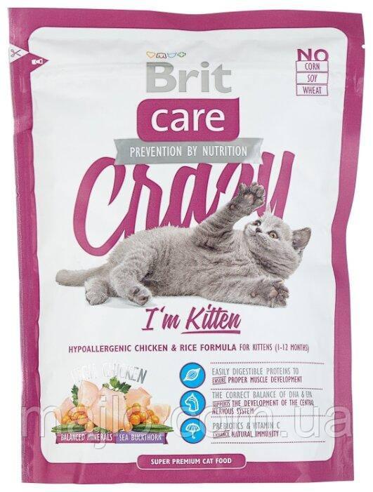 Сухой корм Brit Care Cat Crazy Kitten Брит Кеа для котят, беременных и кормящих кошек, 400 г, 132602
