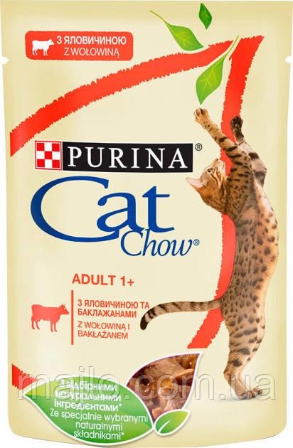 Упаковка вологого корму для кішок Purina Cat Chow Adult з яловичиною і баклажанами 85 г x 24 шт