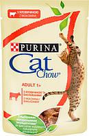 Упаковка вологого корму для кішок Purina Cat Chow Adult з яловичиною і баклажанами 85 г x 24 шт, фото 1
