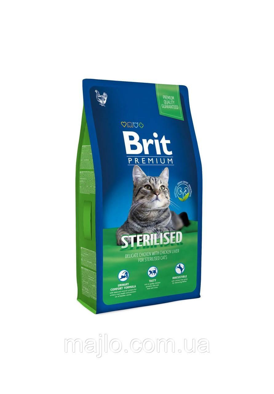 Сухий корм Brit Premium Cat Sterilised Брит Преміум для стерилізованих котів з куркою та печінкою, 8 кг,