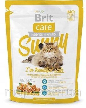 Сухий корм Brit Care Cat Sunny Beautiful Hair Брит Кеа для довгошерстих кішок догляд за шкірою і шерстю 400 г,
