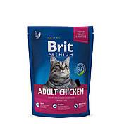 Сухой корм Brit Premium Cat Adult Chicken Брит Премиум для взрослых кошек курица-печень, 300 г,  170355