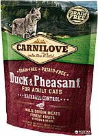 Carnilove Cat Duck&Pheasant Hairball Control для выведения шерсти  400 г (8595602512355)