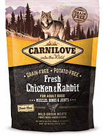 Carnilove Fresh Chiken & Rabbit for Adult dogs 1.5 kg (д\дорослих собак з куркою і кроликом) (8595602527502)