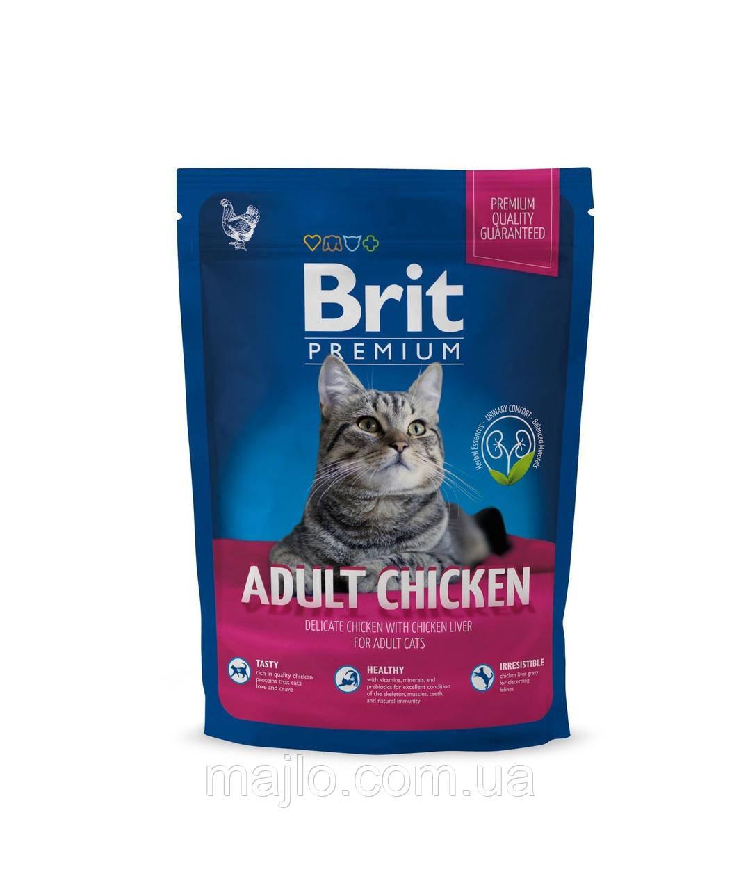 Сухий корм Brit Premium Cat Adult Chicken Брит Преміум для дорослих кішок, 800 г, 170356