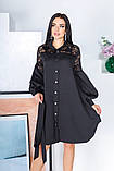 Свободное платье с гипюровыми вставками 50-502, фото 3