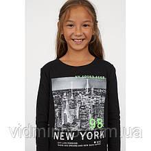 Лонгслив Нью-Йорк H&M на девочку