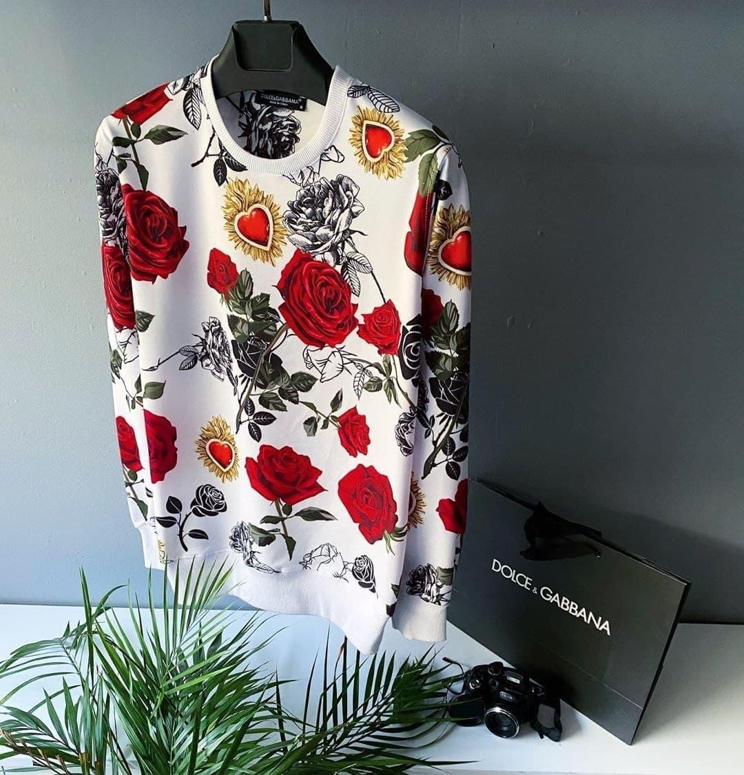 Свитшот - Стильный мужской свитшот с розами / чоловічий стильний світшот з розами