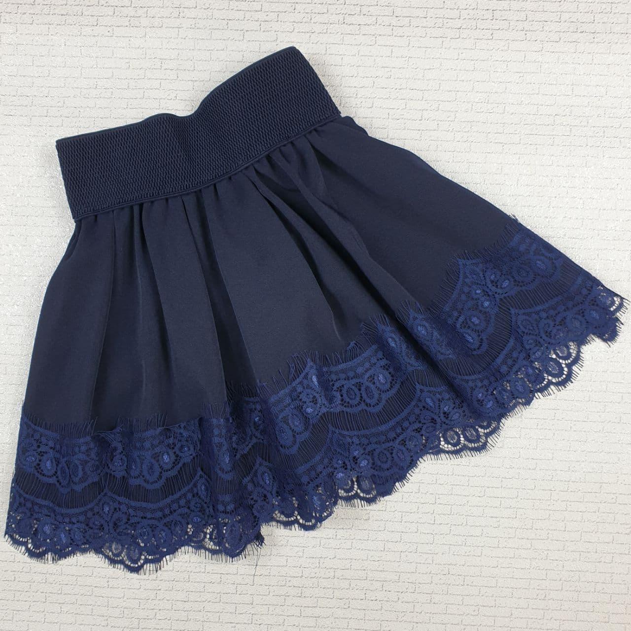 Юбка школьная с кружевом  122 cм, темно-синий