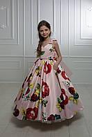 "Модель ""ELIZABETH 2"" - довга атласна сукня зі шлейфом / атласное платья с принтом"