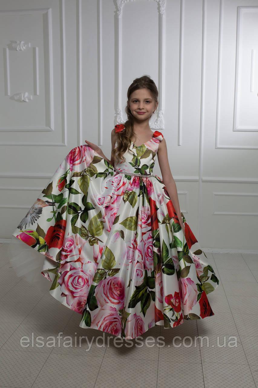 """Модель """"ELIZABETH 2"""" - довга атласна сукня зі шлейфом / атласне плаття з принтом"""