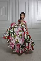 """Модель """"ELIZABETH 2"""" - довга атласна сукня зі шлейфом / атласне плаття з принтом, фото 1"""
