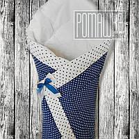 Демисезоный осенний весенний коневерт плед одеяло на выписку осень зима 2910ДМ Синий