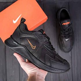 Мужские черные кожаные кроссовки nike