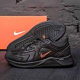 Мужские черные кожаные кроссовки nike, фото 2