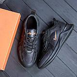 Мужские черные кожаные кроссовки nike, фото 3