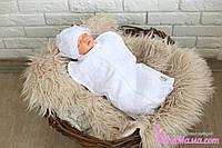 Нарядный конверт с шапочкой на молнии, евро-кокон, конверт для новорожденных, фото 1