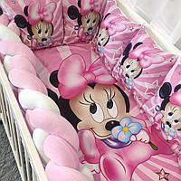 Комплект детского постельного белья в кроватку с бортиками из подушек и косичкой Мультфильм