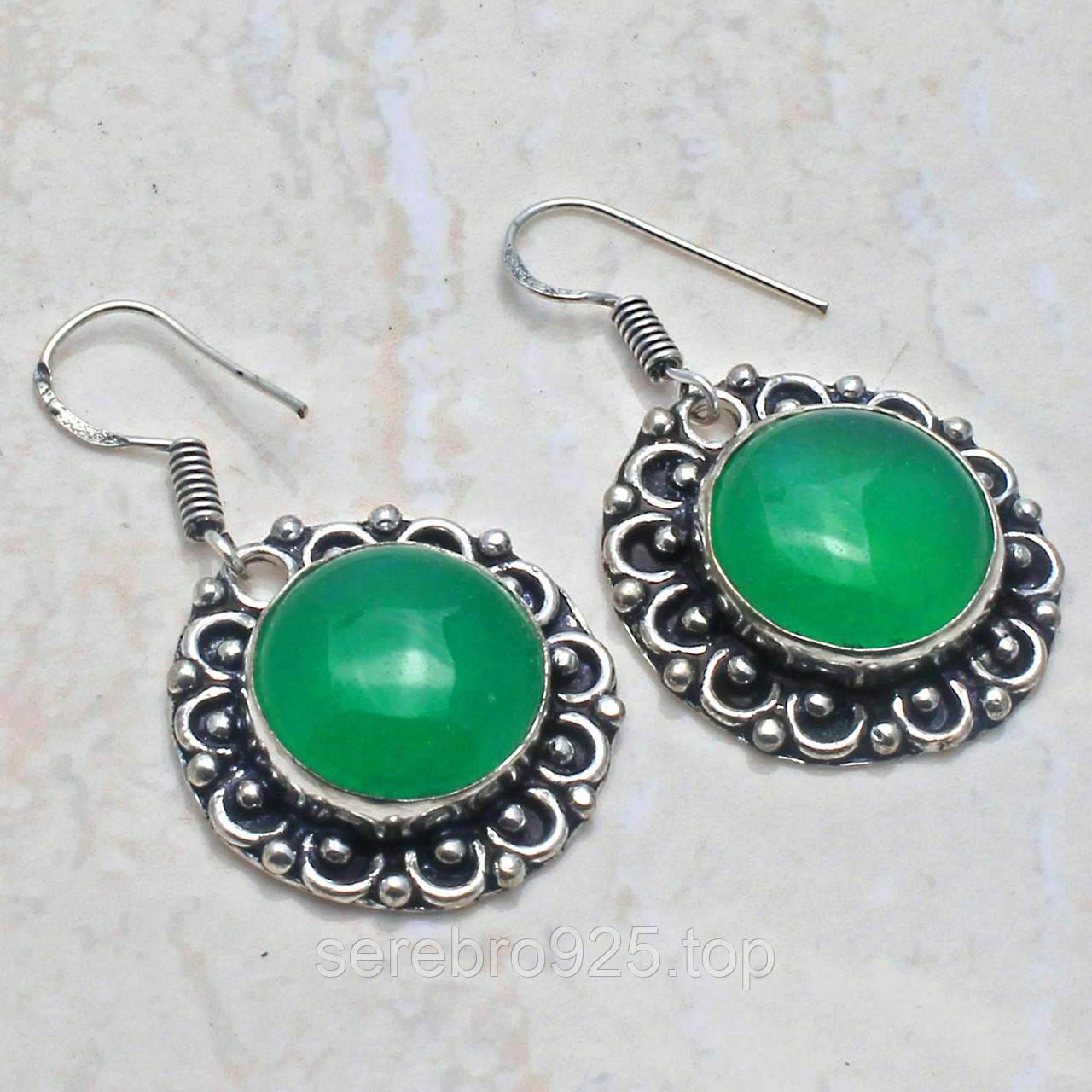 Серьги с натуральным камнем зелёный оникс в серебре