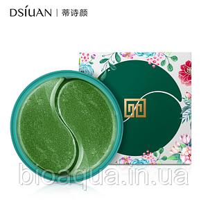 Гидрогелевые патчи для глаз Dsiuan Green Tea Eye Gel Patch с лепестками зелёного чая 60 штук