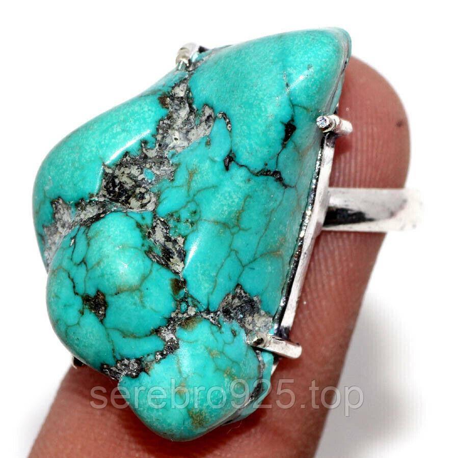 Кольцо с натуральной бирюзой  в серебре18 р.