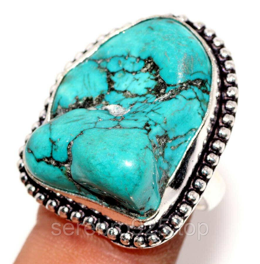 Кольцо с натуральной бирюзой в серебре