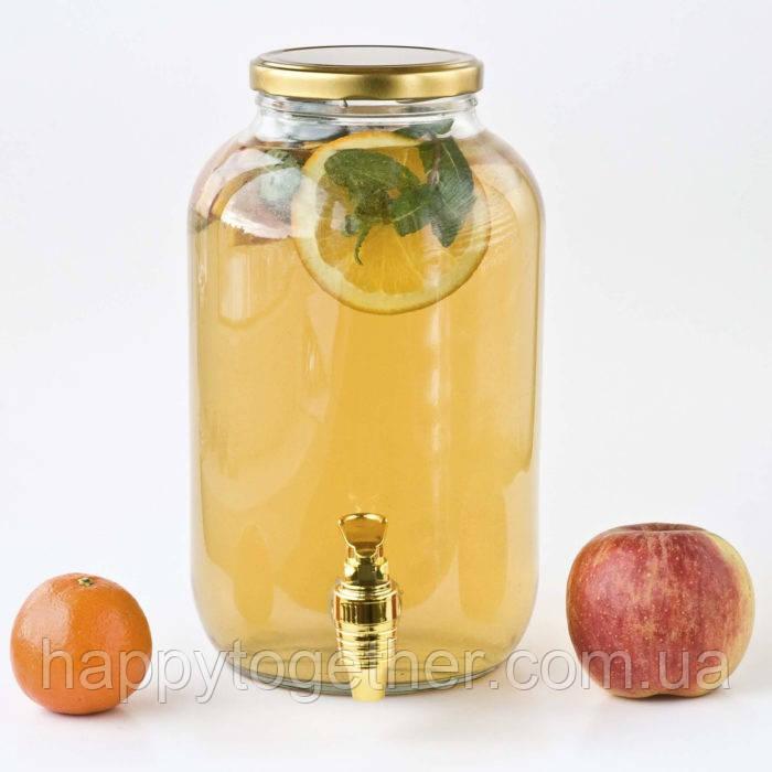 Лимонадница для Кенді барів з золотою кришкою і золотим пластиковим краником. Диспенсери для лимонаду 4.25 л