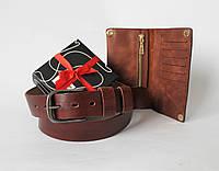 Мужской подарочный набор кожаный ремень и кошелек коричневый
