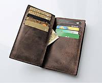 """Мужской кожаный кошелек/портмоне/клатч коричневый """"Spazioso"""" 20 отделений для карт"""