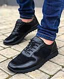Мужская Обувь Кожа Замш Черная, фото 2