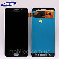 Дисплей для Samsung GH97-18229B A710 Galaxy A7 (2016) Amoled с тачскрином, чёрный (сервисный оригинал)
