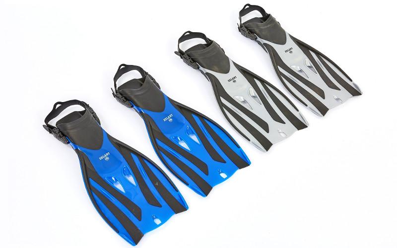 Ласты открытые для дайвинга (серые,синие) Zelart F52, L-XL (42-45)