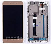 Дисплей для Xiaomi Redmi 4A з тачскріном і рамкою, золотий