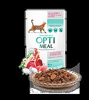 Влажный беззерновой корм OPTIMEAL для котов с чувствительным пищеварением с ягненком та филе индейки в соусе