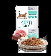 Влажный корм OPTIMEAL для котов с эффектом выведения шерсти, с уткой и кусками печени 0,085 кг