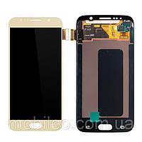 Дисплей для Samsung GH97-17260C G920 Galaxy S6 Amoled з тачскріном, золотий (сервісний оригінал)
