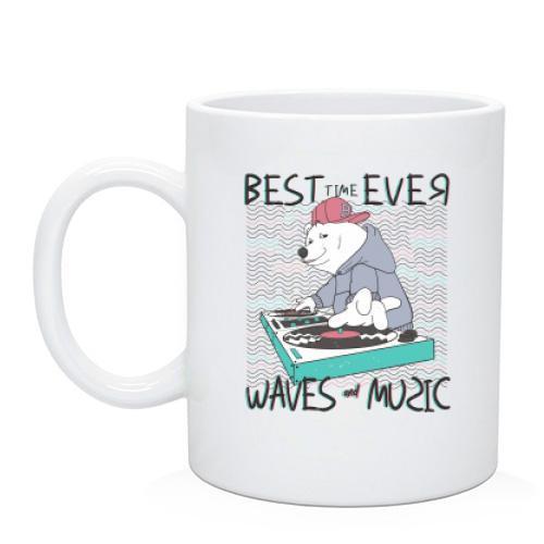 Чашка з білим ведмедиком діджеєм