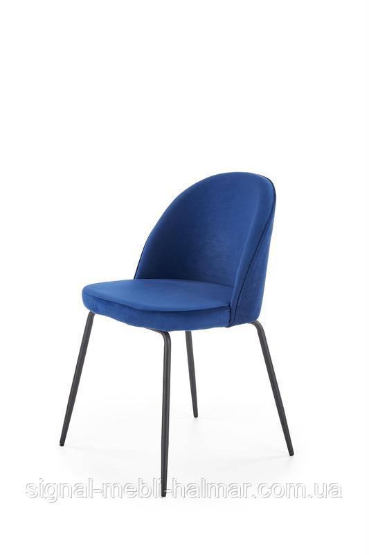 Cтул K314 ножки стула - черный, обивка - темно-синий (Halmar)