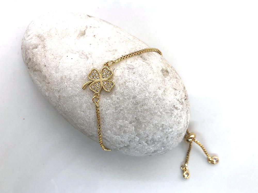 Легкий браслет Клевер с цирконами на цепочке, золото